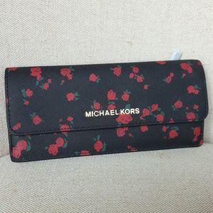 🌺NWT Michael Kors Slim Flat Wallet Black Red MK